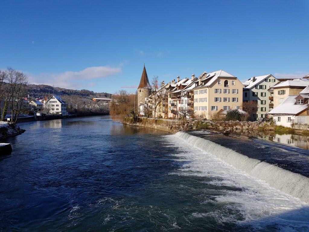La vista sulla città di Bremgarten dal ponte